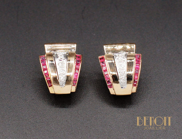 Boucles d'Oreilles Tank 1940 Or Diamants