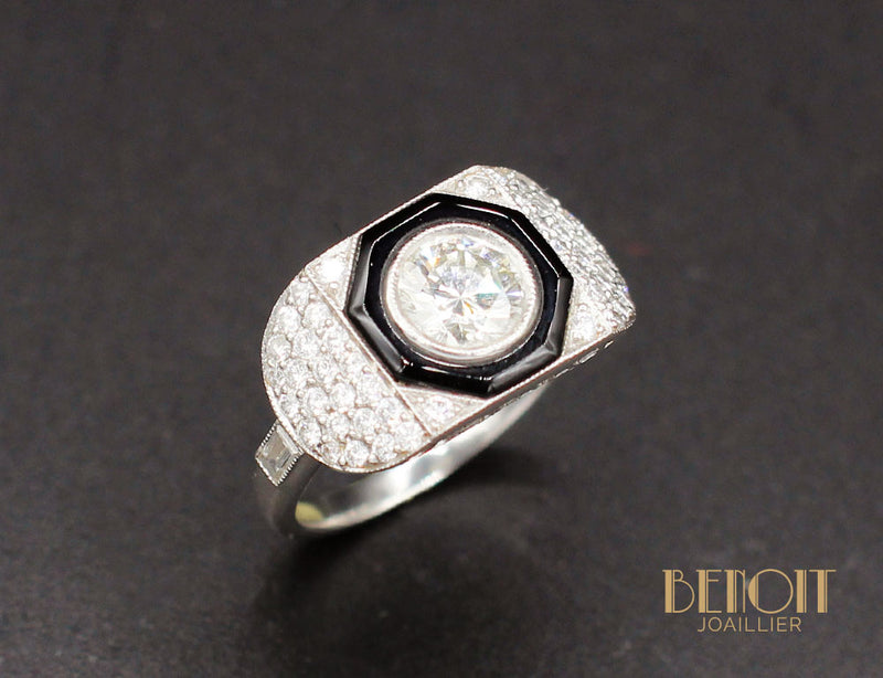 Bague Art Déco Diamants Onyx