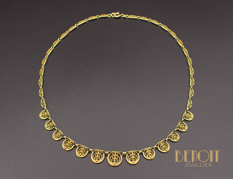 Collier Draperie Ancien Or Jaune
