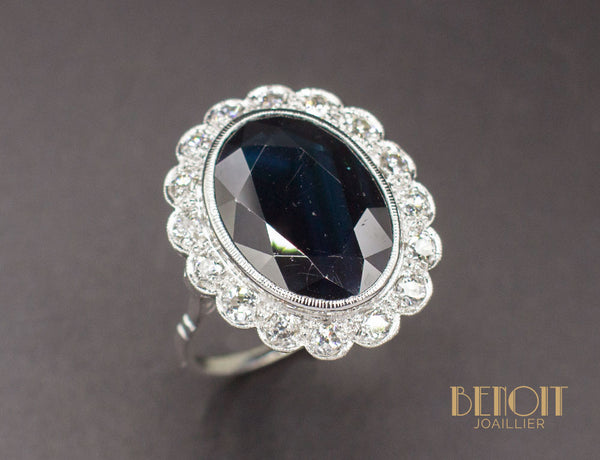 Bague Pompadour Saphir Diamants
