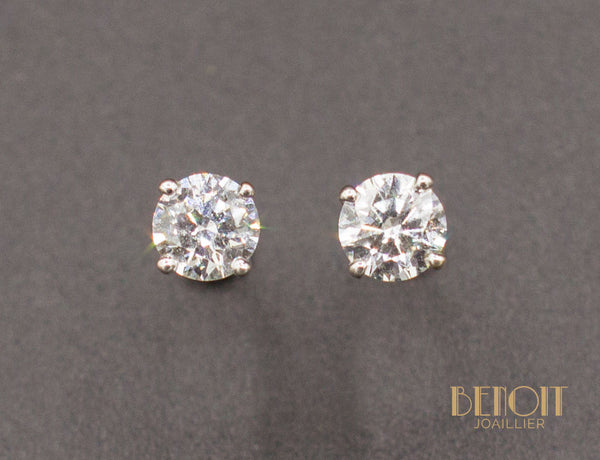Boucles D'Oreilles Puces Diamants 0,30ct