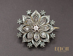 Broche Fleur Ancienne Diamants