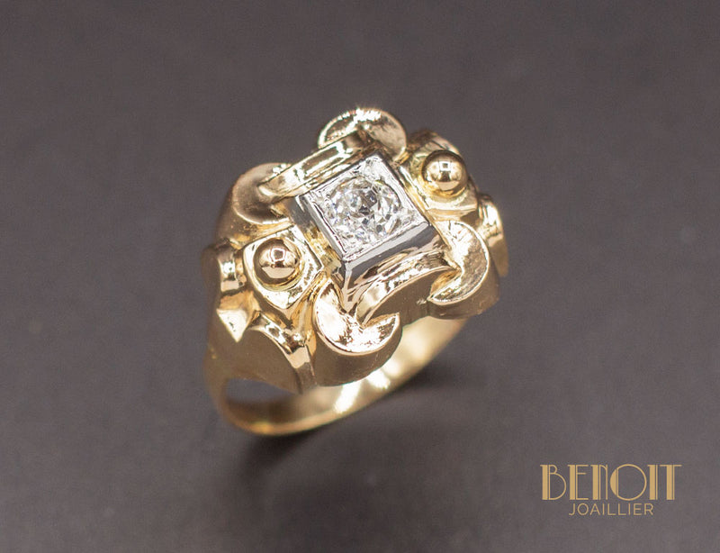 Bague 1950 Or Jaune Diamant