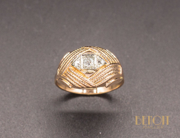 Bague 1950 Diamant Or Rose