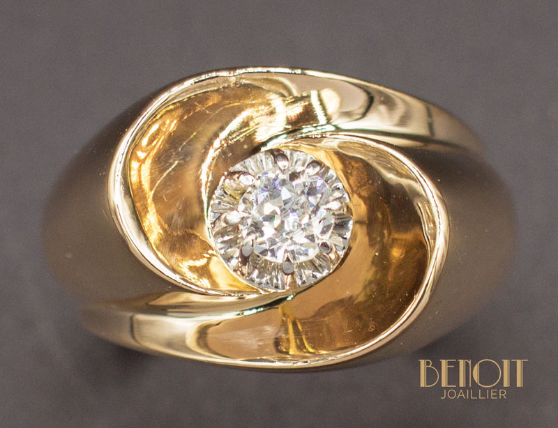 Bague 1950 Or Rose Diamant