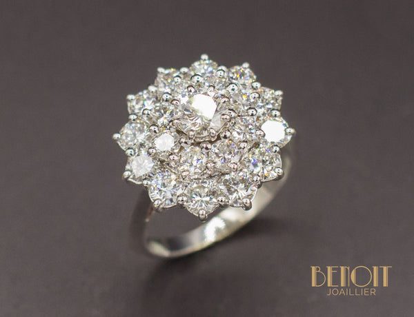 Bague Marguerite Diamants Double Entourage