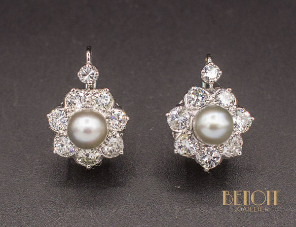 Boucles d'Oreilles Perles Diamants