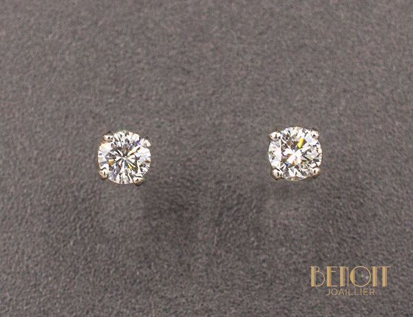 Boucles d'Oreilles Puces Diamants 0.15ct