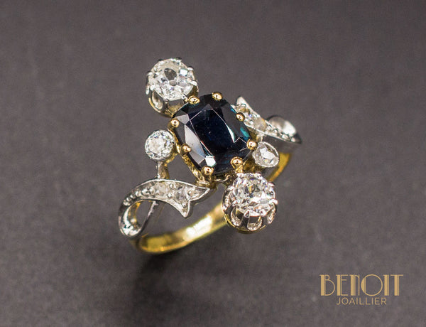 Bague Trilogie Saphir Diamants