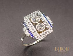 Bague Art Déco Diamants Saphirs