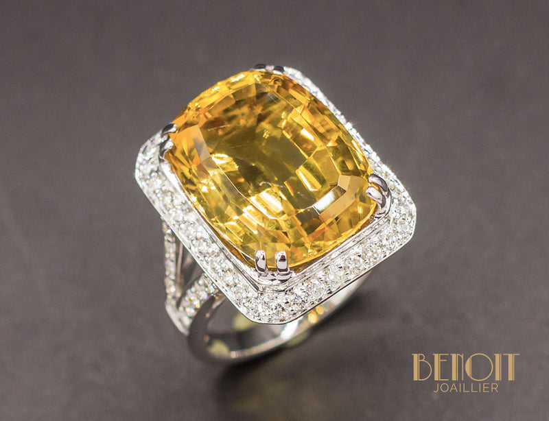 Bague Citrine Entourage Diamants