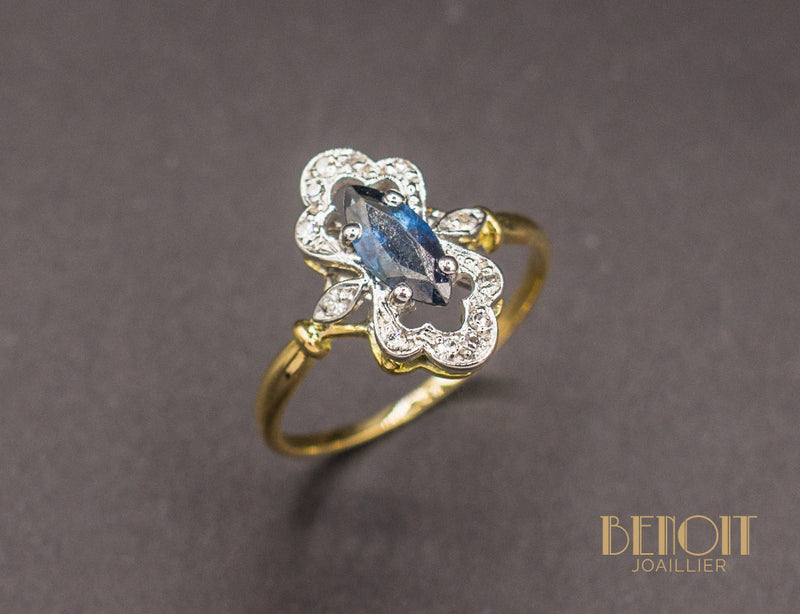 Bague Saphir Diamants Style 1900