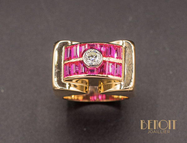 Bague Tank Or Rose Diamant