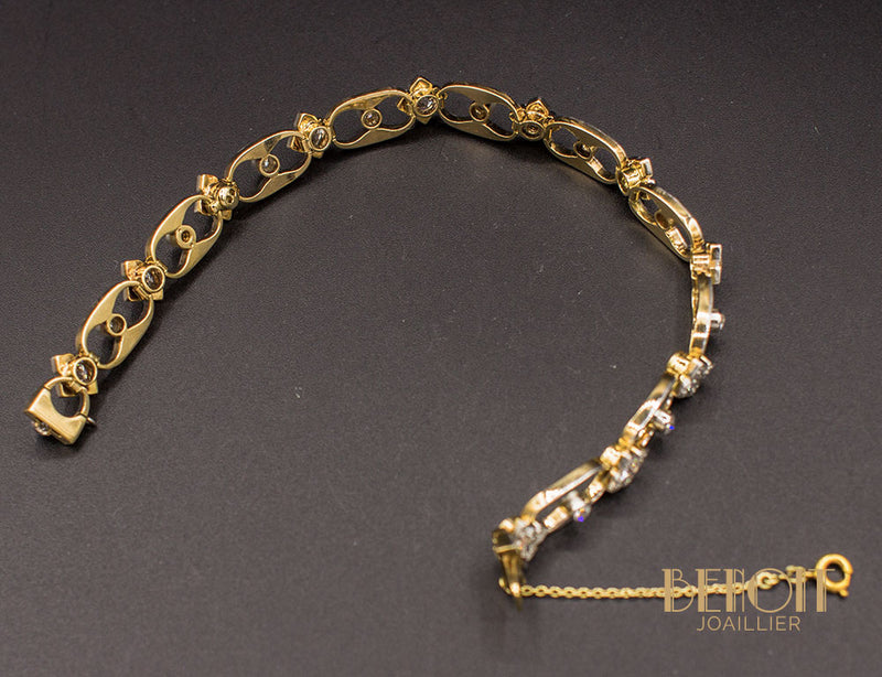 Bracelet 1950 Or Jaune Platine et Diamants
