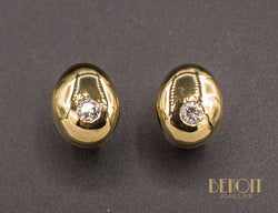 Boucles d'Oreilles Puces Modernistes Or Jaune Diamants