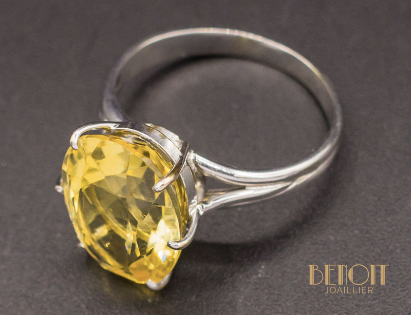 Bague Citrine Or Blanc