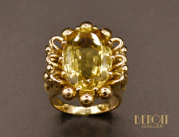 Bague Citrine Or Rose 1950