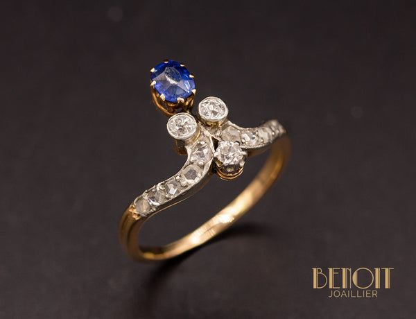 Bague Duchesse Saphir Diamants