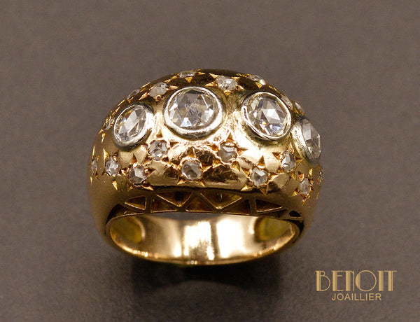 Bague Jonc Constellation Or Rose et Diamants