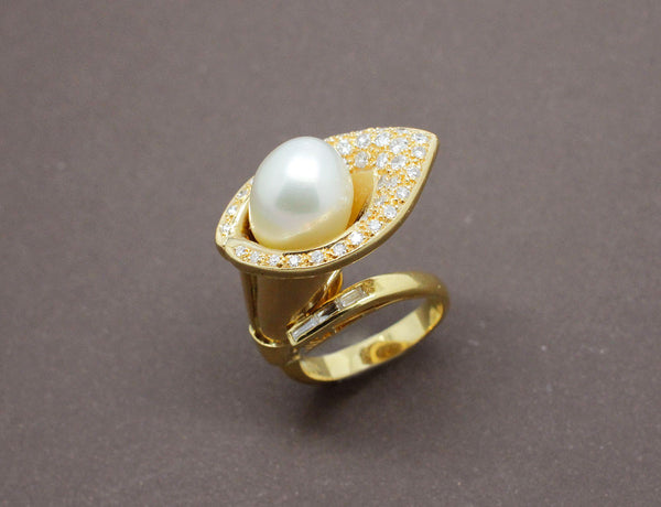 Bague perle diamants et or 18 carat