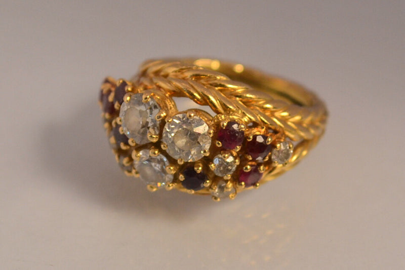 Bague 1950 or diamants rubis