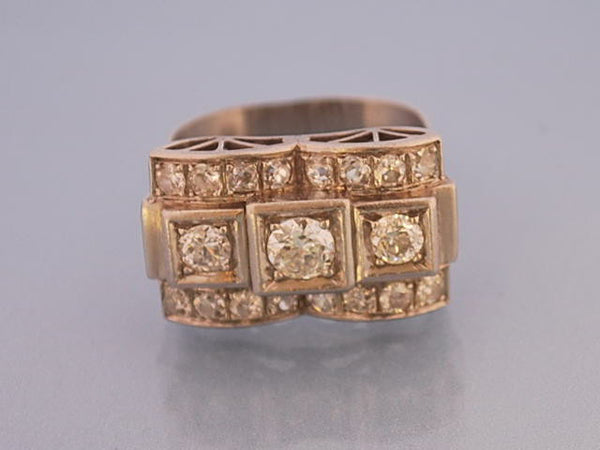 Bague art deco or et diamants