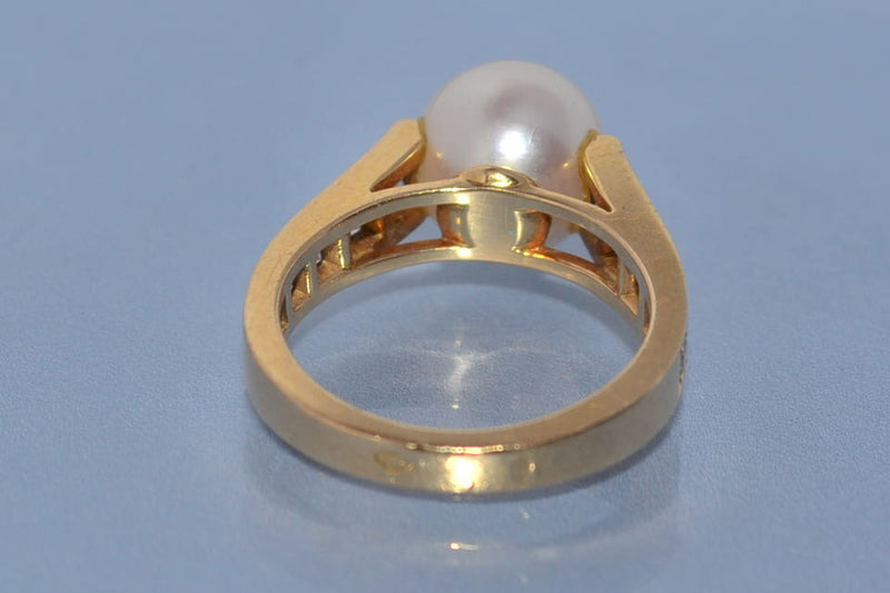 Bague en perle Cartier or et diamants