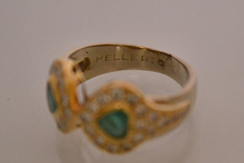 Bague MELLERIO Emeraude Diamants et Or Jaune