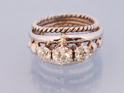 Bague or blanc diamant 1950