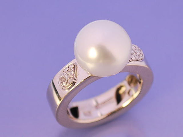 Bague perle or et diamants