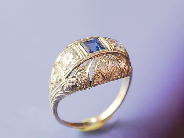Bague platine diamants saphir 1930