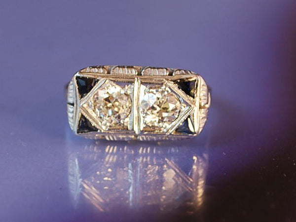 Bague platine diamants saphirs 1930