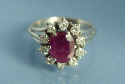 Bague Rubis, Diamants et or