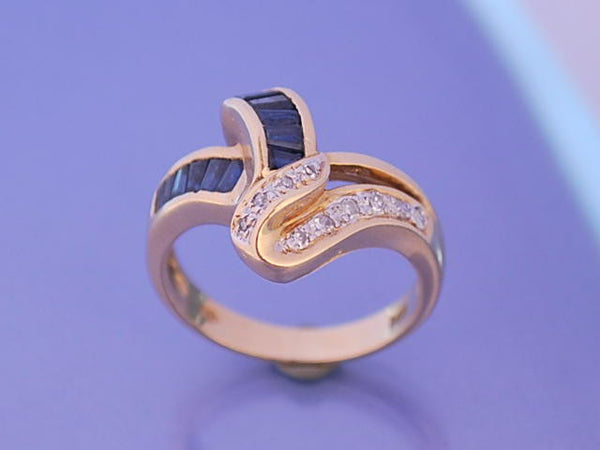 Bague saphir diamants 1950