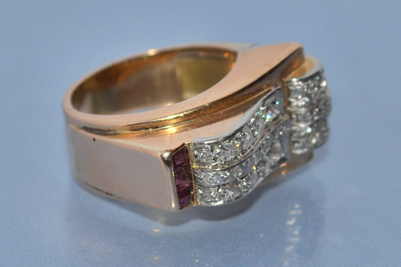 Bague tank diamants rubis et or 18 carats