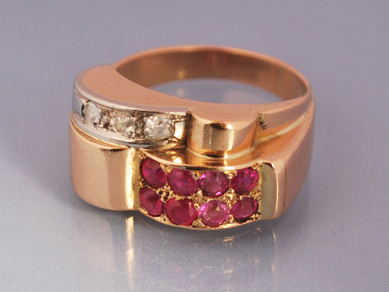 Bague Tank diamants & rubis Or rose 18 Carat