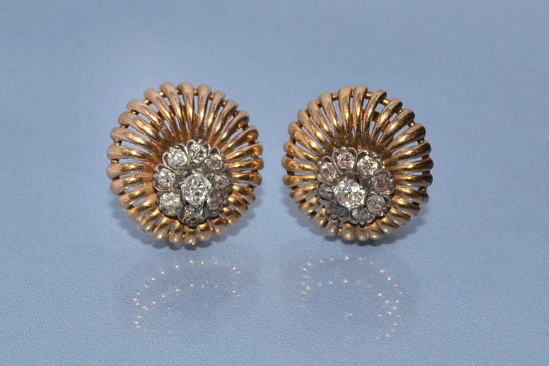 Boucles d'oreille or argent diamants