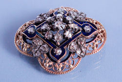 Broche Ancienne Email, or et diamants