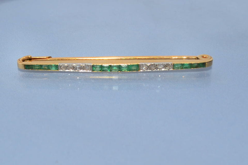 Broche barrette 1930 émeraudes et diamants