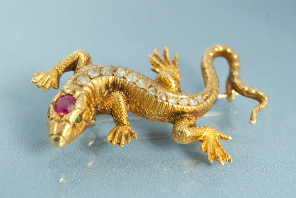 Broche Lezard en Or 18 k