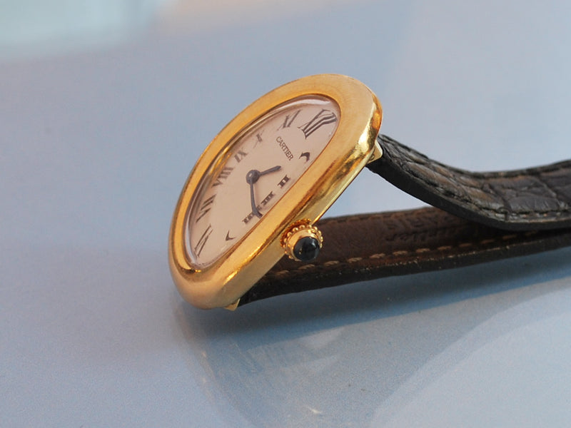 Montre Cartier or jaune et cuir