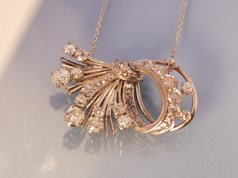 Pendentif/collier platine or diamants 1940
