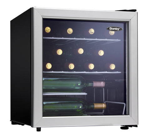 DWC172BLPDB - 17 Bottle Wine Cooler - Platinum with Black Sides