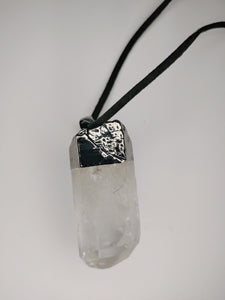 "Crystal Quartz Large Point ""Shield"" Necklace w. Jar Bundle Option"
