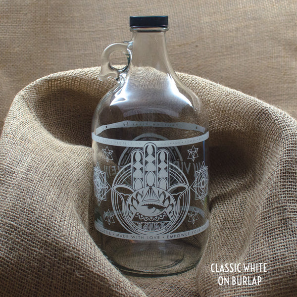 64 oz. Hamsa Clear Glass Jug