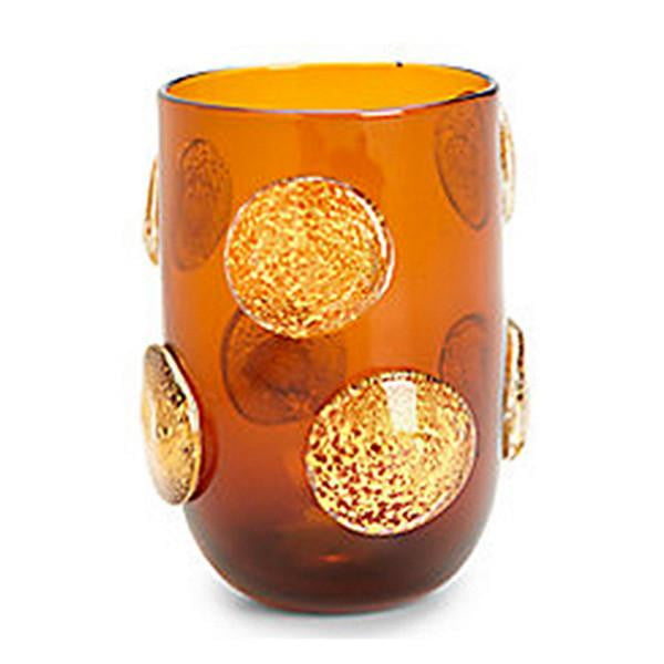 Set of 4 - Gold Polka Dots Drinking Glasses - Amber