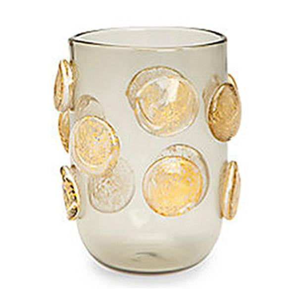 PRE-ORDER Set of 4 - Gold Polka Dots Drinking Glasses - Grey