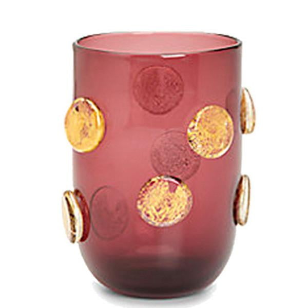 Set of 4 - Gold Polka Dots Drinking Glasses - Amethyst