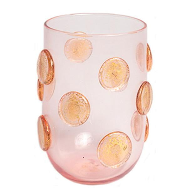 Set of 4 - Gold Polka Dots Drinking Glasses - Pink