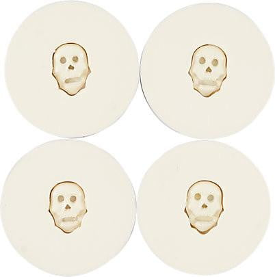 Skull Metal Coaster with Four Resin Coasters